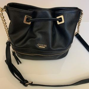 Guess Faux Leather Bucket Bag Chain Strap